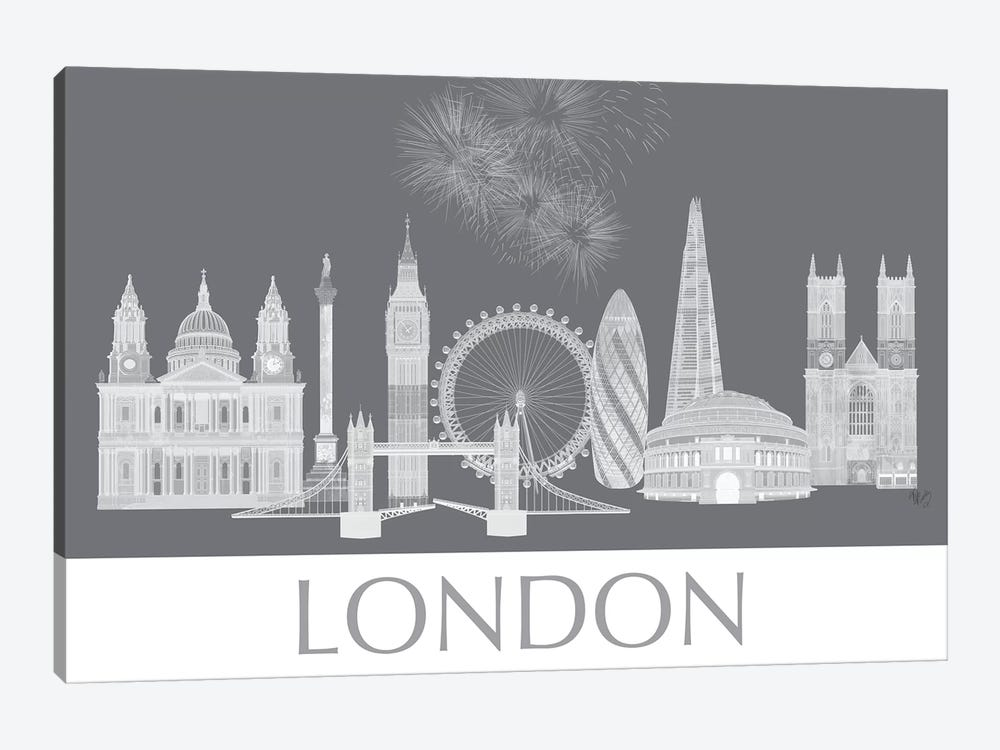 London Skyline Monochrome by Fab Funky 1-piece Canvas Print