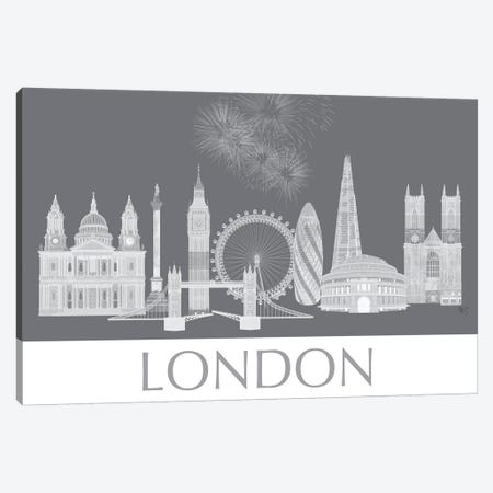 London Skyline Monochrome Canvas Print #FNK1410} by Fab Funky Canvas Wall Art