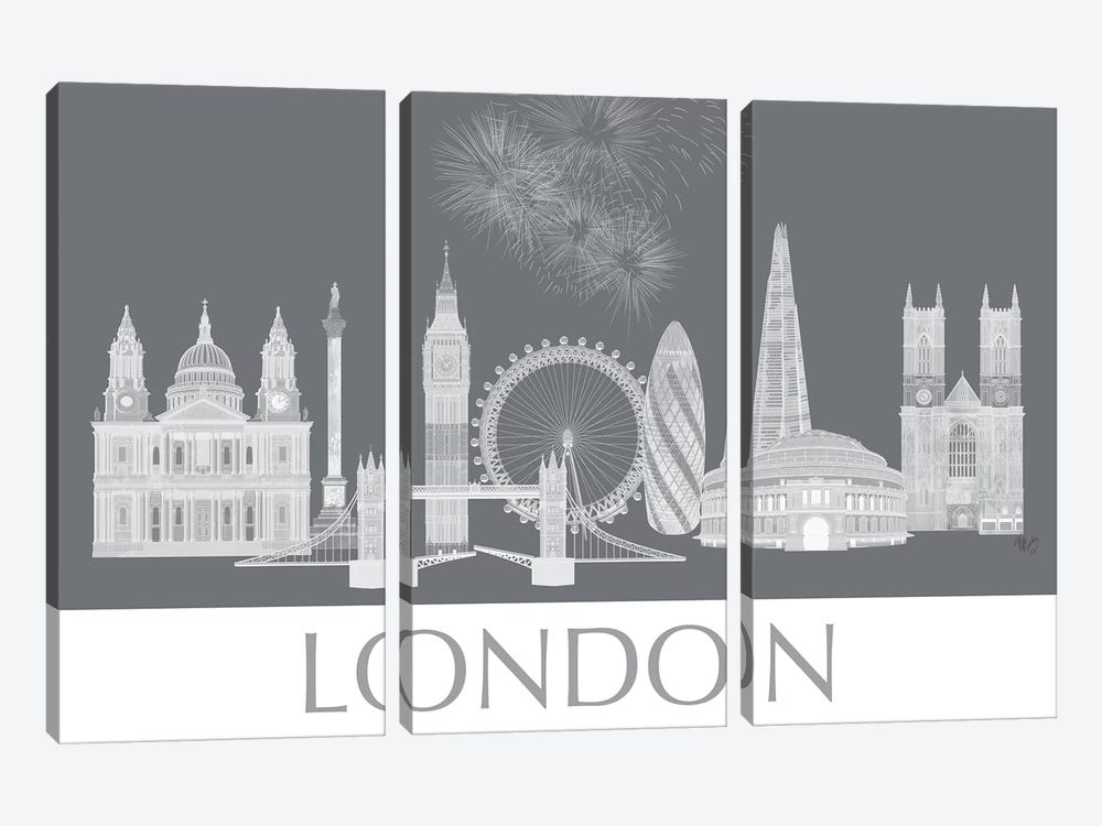 London Skyline Monochrome by Fab Funky 3-piece Canvas Art Print