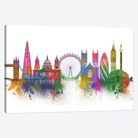 London Skyline Rainbow Bright Canvas Print #FNK1411} by Fab Funky Canvas Art