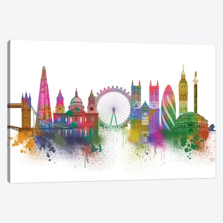 London Skyline Rainbow Bright Canvas Print #FNK1411} by Fab Funky Canvas Art