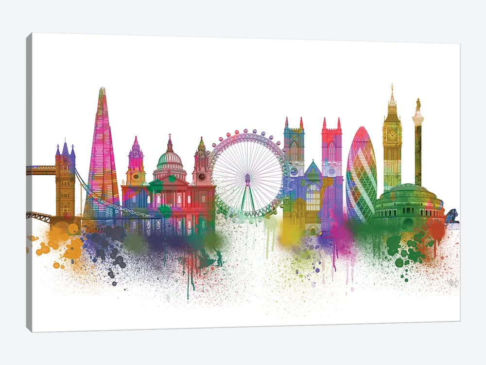 London Skyline Rainbow Bright by Fab Funky 1-piece Canvas Art