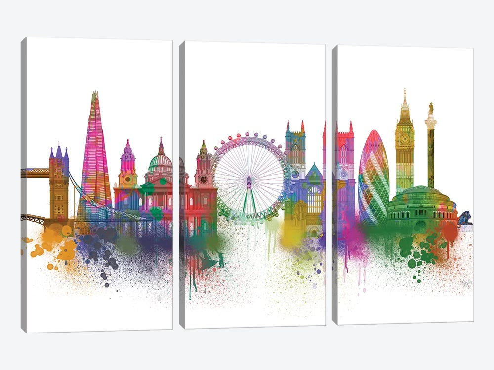 London Skyline Rainbow Bright by Fab Funky 3-piece Canvas Wall Art