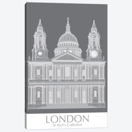 London St Pauls Monochrome Canvas Print #FNK1412} by Fab Funky Canvas Art