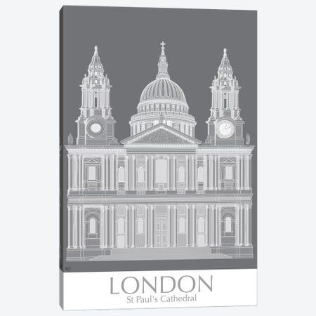 London St Pauls Monochrome Canvas Print #FNK1412} by Fab Funky Canvas Art