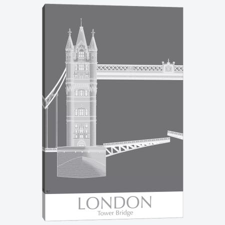 London Tower Bridge Monochrome Canvas Print #FNK1413} by Fab Funky Canvas Art