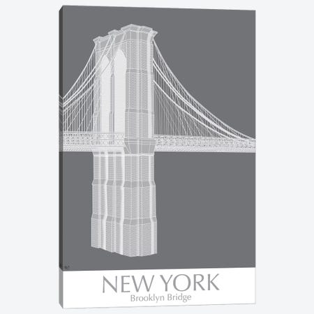New York Brooklyn Bridge Monochrome Canvas Print #FNK1415} by Fab Funky Canvas Art Print