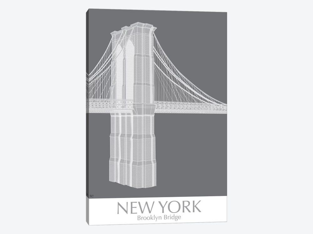 New York Brooklyn Bridge Monochrome by Fab Funky 1-piece Canvas Wall Art