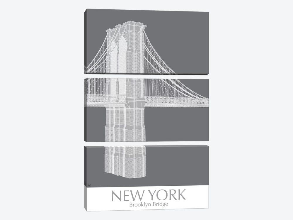 New York Brooklyn Bridge Monochrome by Fab Funky 3-piece Canvas Artwork
