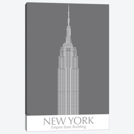New York Empire State Building Monochrome Canvas Print #FNK1419} by Fab Funky Canvas Wall Art