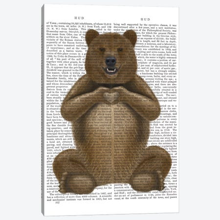 Bear And Hand Heart Canvas Print #FNK141} by Fab Funky Canvas Art Print