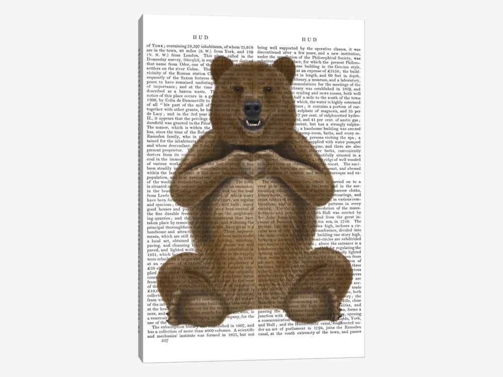Bear And Hand Heart by Fab Funky 1-piece Canvas Art