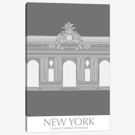 New York Grand Central Monochrome Canvas Print #FNK1422} by Fab Funky Art Print