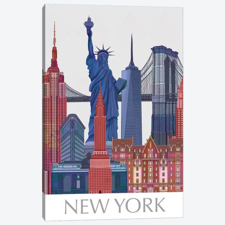 New York Landmarks , Red Blue II Canvas Print #FNK1424} by Fab Funky Canvas Wall Art