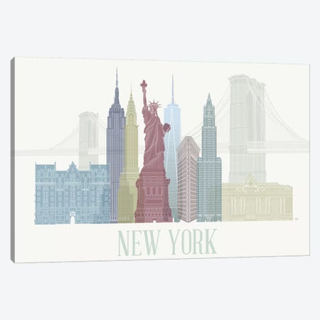 New York Skyline I Canvas Print #FNK1426} by Fab Funky Canvas Artwork