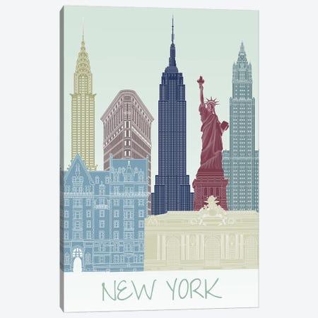 New York Skyline II Canvas Print #FNK1427} by Fab Funky Canvas Artwork