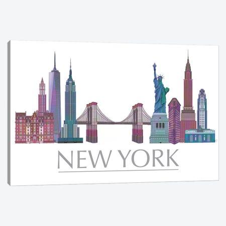 New York Skyline Coloured Buildings Canvas Print #FNK1428} by Fab Funky Canvas Art Print
