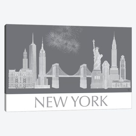New York Skyline Monochrome Canvas Print #FNK1429} by Fab Funky Canvas Print