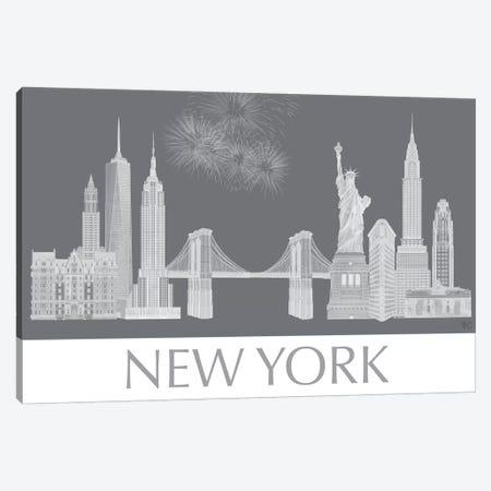 New York Skyline Monochrome Canvas Print #FNK1429} by Fab Funky Canvas Print