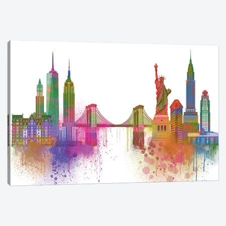 New York Skyline Rainbow Bright I Canvas Print #FNK1430} by Fab Funky Canvas Artwork