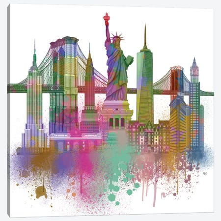 New York Skyline Rainbow Bright II Canvas Print #FNK1431} by Fab Funky Canvas Wall Art