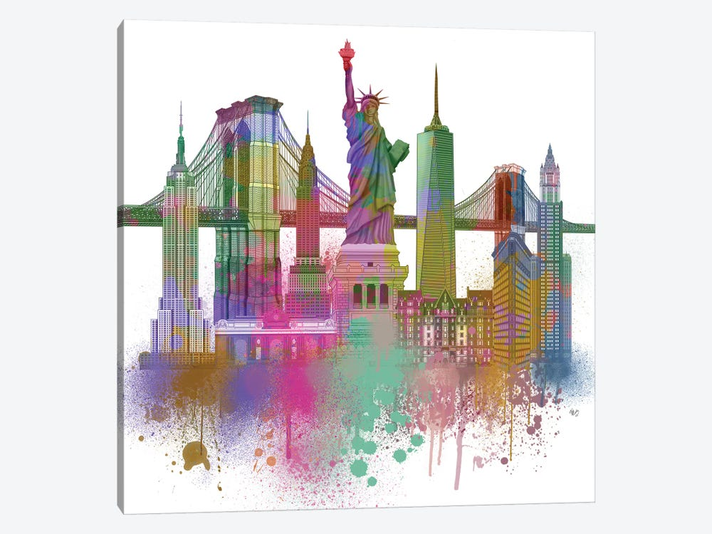 New York Skyline Rainbow Bright II by Fab Funky 1-piece Canvas Wall Art