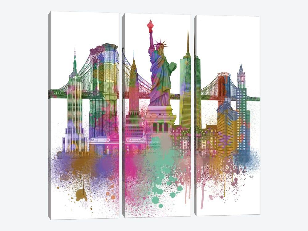 New York Skyline Rainbow Bright II by Fab Funky 3-piece Canvas Wall Art