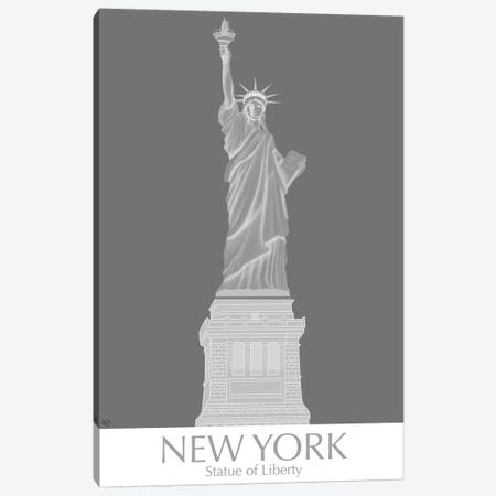 New York Statue of Liberty Monochrome Canvas Print #FNK1432} by Fab Funky Canvas Art