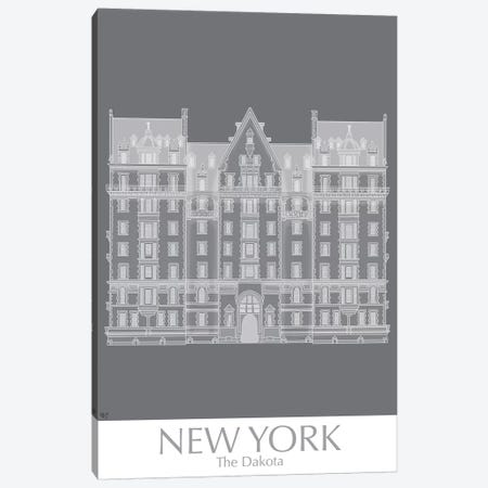 New York The Dakota Building Monochrome Canvas Print #FNK1433} by Fab Funky Canvas Art