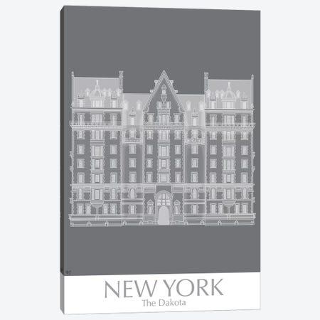 New York The Dakota Building Monochrome Canvas Print #FNK1433} by Fab Funky Canvas Art