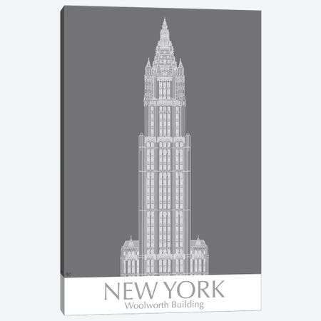 New York Woolworth Building Monochrome Canvas Print #FNK1434} by Fab Funky Art Print