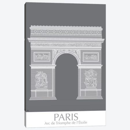 Paris Arc De Triomph Monochrome Canvas Print #FNK1435} by Fab Funky Canvas Print
