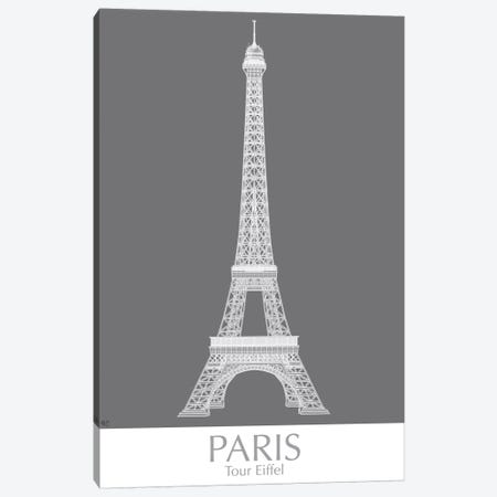 Paris Eiffel Tower Monochrome Canvas Print #FNK1436} by Fab Funky Art Print
