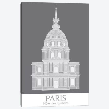 Paris Les Invalides Monochrome Canvas Print #FNK1438} by Fab Funky Canvas Wall Art