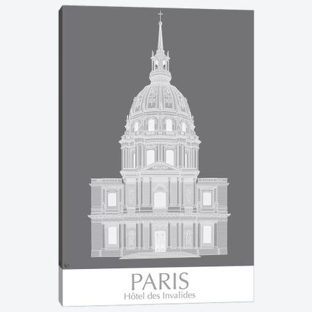Paris Les Invalides Monochrome Canvas Print #FNK1438} by Fab Funky Canvas Wall Art