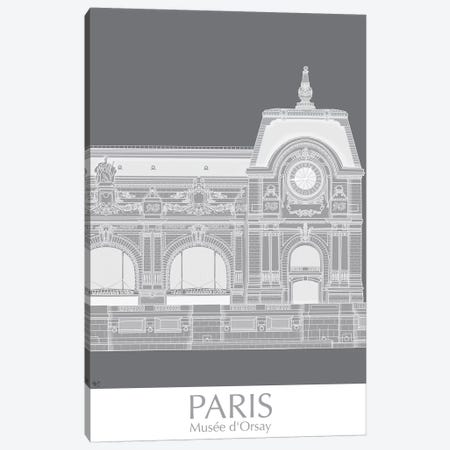 Paris Musee Dorsay Monochrome Canvas Print #FNK1439} by Fab Funky Canvas Wall Art