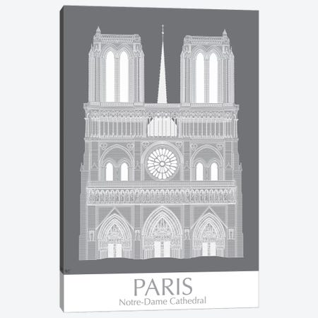 Paris Notre Dame Monochrome Canvas Print #FNK1441} by Fab Funky Canvas Print