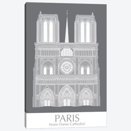 Paris Notre Dame Monochrome Canvas Print #FNK1441} by Fab Funky Canvas Print
