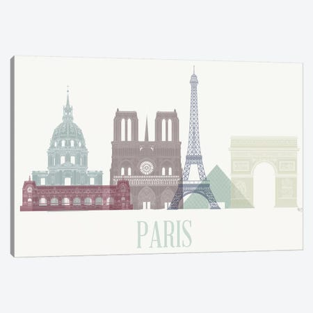 Paris Skyline I Canvas Print #FNK1442} by Fab Funky Canvas Art Print