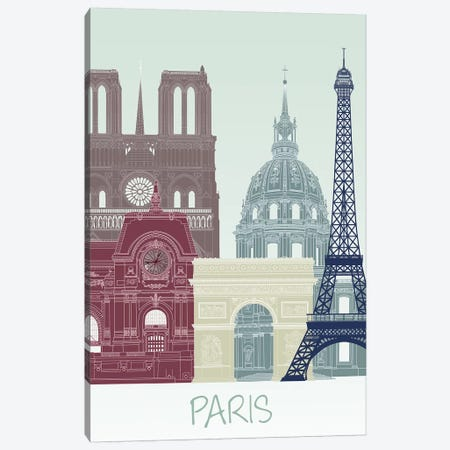 Paris Skyline II Canvas Print #FNK1443} by Fab Funky Canvas Print