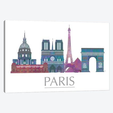 Paris Skyline Coloured Buildings Canvas Print #FNK1444} by Fab Funky Canvas Artwork