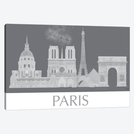 Paris Skyline Monochrome Canvas Print #FNK1445} by Fab Funky Canvas Art