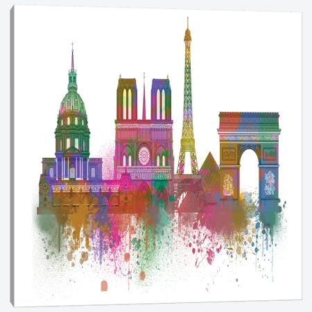 Paris Skyline Rainbow Bright I Canvas Print #FNK1446} by Fab Funky Canvas Art