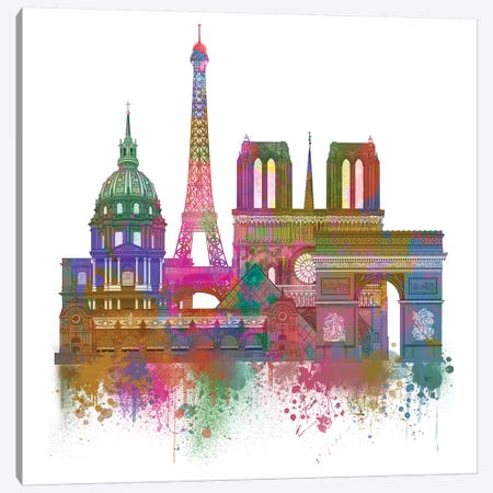 Paris Skyline Rainbow Bright II Canvas Print #FNK1447} by Fab Funky Canvas Art