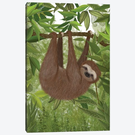 Sloth Hanging Around I Canvas Print #FNK1448} by Fab Funky Art Print