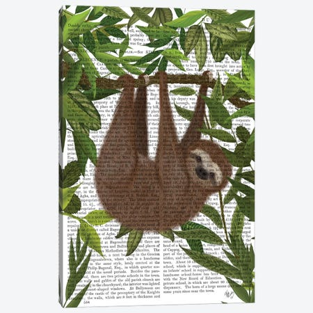 Sloth Hanging Around II 3-Piece Canvas #FNK1449} by Fab Funky Canvas Print