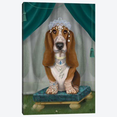 Basset Hound and Tiara I Canvas Print #FNK1450} by Fab Funky Canvas Art