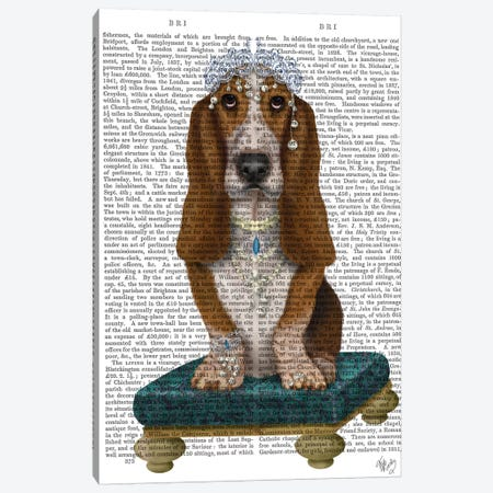 Basset Hound and Tiara II Canvas Print #FNK1451} by Fab Funky Canvas Art