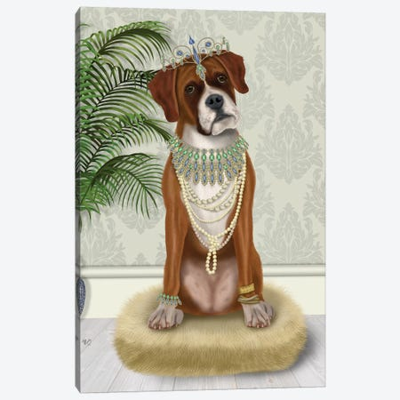 Boxer and Tiara, Full I Canvas Print #FNK1455} by Fab Funky Canvas Art Print