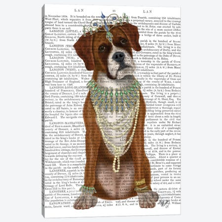 Boxer and Tiara, Full II Canvas Print #FNK1456} by Fab Funky Canvas Art Print